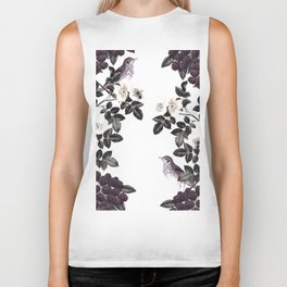 Blackberry Spring Garden - Birds Bees and Flowers Biker Tank