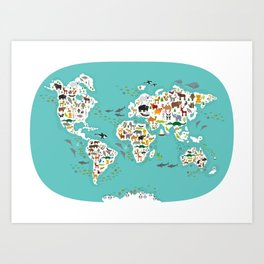Cartoon animal world map for children and kids, Animals from all over the world Kunstdrucke