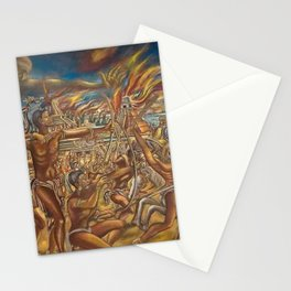 The Fall of Tenochtitlan, the capital of the Aztec Empire landscape by A. Cantu Stationery Cards