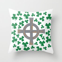 Celtic cross and Shamrock. St.Patrick's Day Throw Pillow