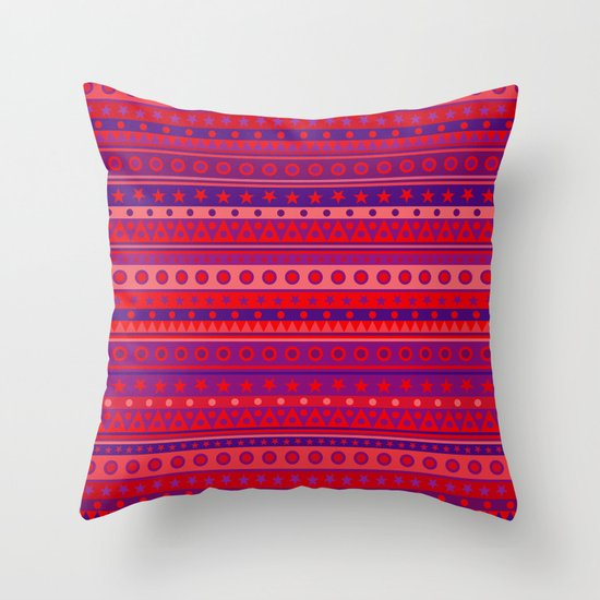 Red Purple and Pink Stripy Pattern Throw Pillow by Hippy Gift Shop Society6