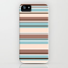 Striped Design Browns Blue Cream & White iPhone Case