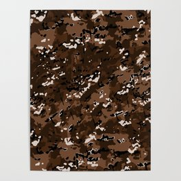 Chocolate Brown Popular Multi Camo Pattern Poster