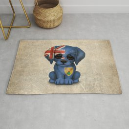 Cute Puppy Dog with flag of Turks and Caicos Rug