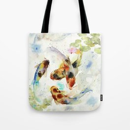 Watercolor Koi Pond Tote Bag
