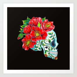 Sugar Skull with Red Poppies Art Print