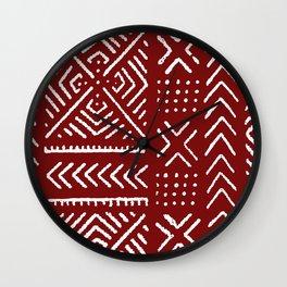 Line Mud Cloth // Maroon Wall Clock