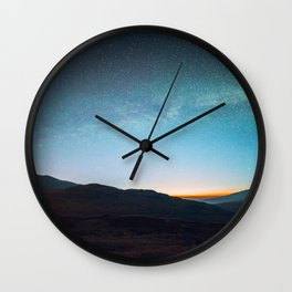 Mid Century Modern Round Circle Photo Graphic Design Mikey Way During Sunset Mountain Silhouette Wall Clock
