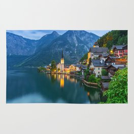 Hallstatt Village, Alps Rug
