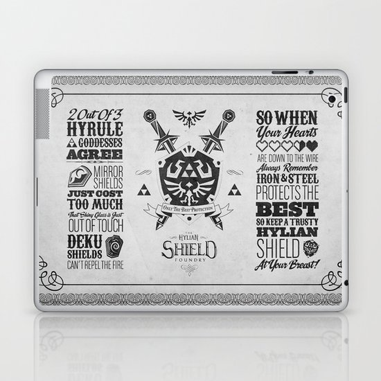 Legend of Zelda Hylian Shield Foundry logo Iconic Geek Line Artly Laptop & iPad Skin