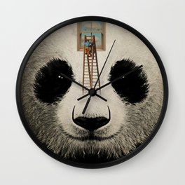 Panda window cleaner 03 Wall Clock