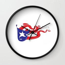 Puerto Rican Flag Splash Wall Clock