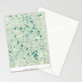 Orlando Map Blue Vintage Stationery Cards