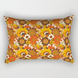 Retro 70s Flower Power, Floral, Orange Brown Yellow Psychedelic Pattern Rectangular Pillow