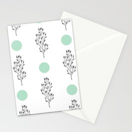 Black brunches & green dots pattern Stationery Cards