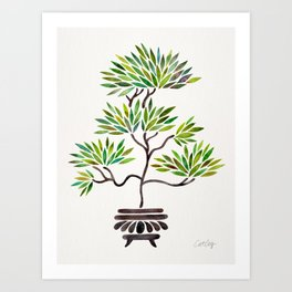 Bonsai Tree – Green Leaves Art Print