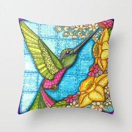 Hummingbird Quilt Square Throw Pillow