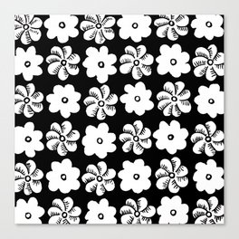 Floral design Black & White Flowers print Canvas Print