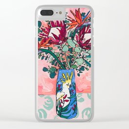 Cockatoo Vase on Painterly Pink Clear iPhone Case
