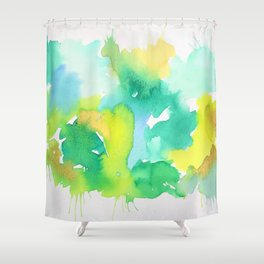 Abstract Green and Yellow Aqua Splash Watercolor Shower Curtain