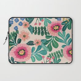 Colorful Tropical Vintage Flowers Abstract Laptop Sleeve