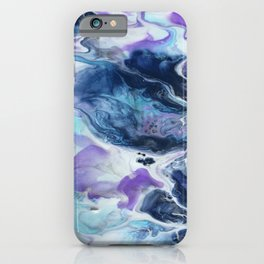Navy Blue, Teal and Royal Purple Marble iPhone Case