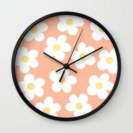 Peach 70's Retro Flower Power Wall Clock