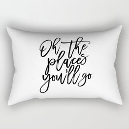 Printable Quote,Dr Quote,Oh The Places You'll Go, Nursery Decor,Kids Room Art,Children Art Rectangular Pillow