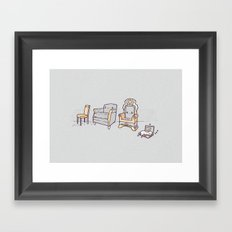 Cat and chairs Framed Art Print