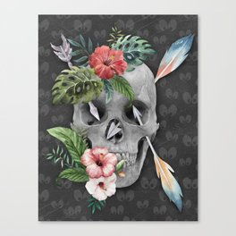 Caribbean Pirate Skull Feather Arrows Tropical Flowers Canvas Print