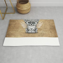 Snow Leopard Cub Fairy Wearing Glasses Rug