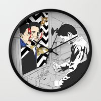twin peaks Wall Clocks featuring TWIN PEAKS by Guiltycubicle