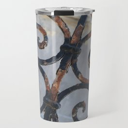 Rusty Metal Grid Gate pattern Illustration Travel Mug