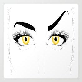 Golden Eyed Woman Disapproval Art Print