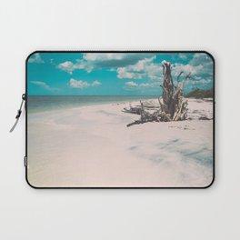 Ocean shore and fallen tree in Lovers Key, Florida Laptop Sleeve