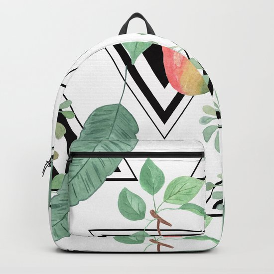 Pears, leaves geometric black and white background. Backpack