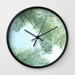 Nature photography tropical vibe vintage palm leaf II Wall Clock