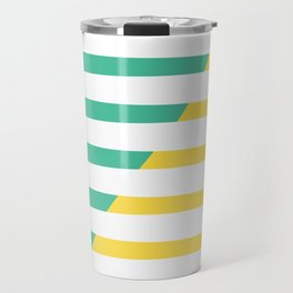Beach Stripes Green Yellow Travel Mug