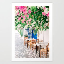 Milos 0018: Bougainville, Plaka, Milos, Greece Art Print