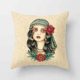 Gipsy tattoo Throw Pillow