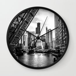 Chicago Skyline and Raised Bridge in Black and White Wall Clock
