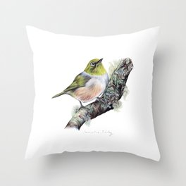 New Zealand Waxeye Throw Pillow