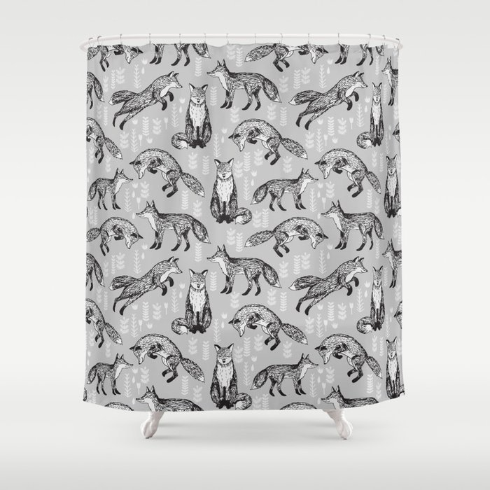 Fox Pattern Drawing Fo Cute Andrea Lauren Grey Forest Animals Woodland Nursery Shower Curtain By Andrealaurendesign