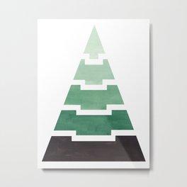 Green Aqua Teal Aztec Pyramid Triangle Egypt Minimalist Mid Century Modern Watercolor Geometric Patt Metal Print