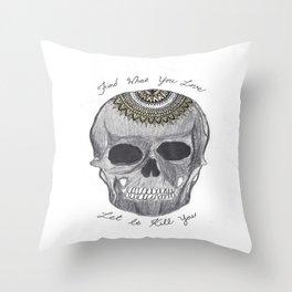 Bukowski Mandala Skull Throw Pillow