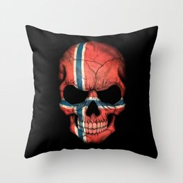 Dark Skull with Flag of Norway Throw Pillow