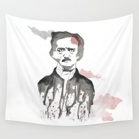 edgar allan poe Wall Tapestries featuring Poe by Eda ERKOVAN