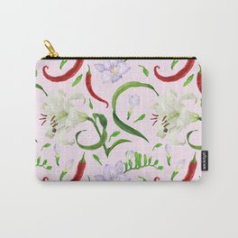 Tropical flowers and red peppers watercolor seamless pattern Carry-All Pouch