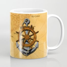 Nautical Ships Wheel And Anchor Coffee Mug