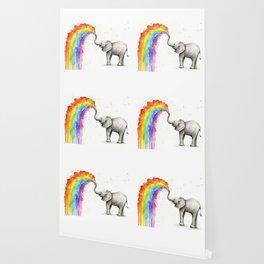 Baby Elephant Spraying Rainbow Wallpaper